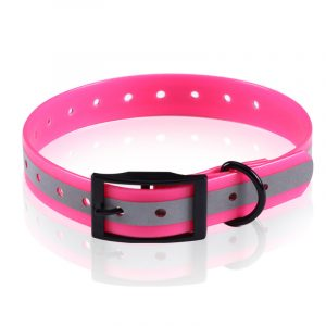 Neon Pink,Black Buckle,Reflective Dog Collar,in TPU